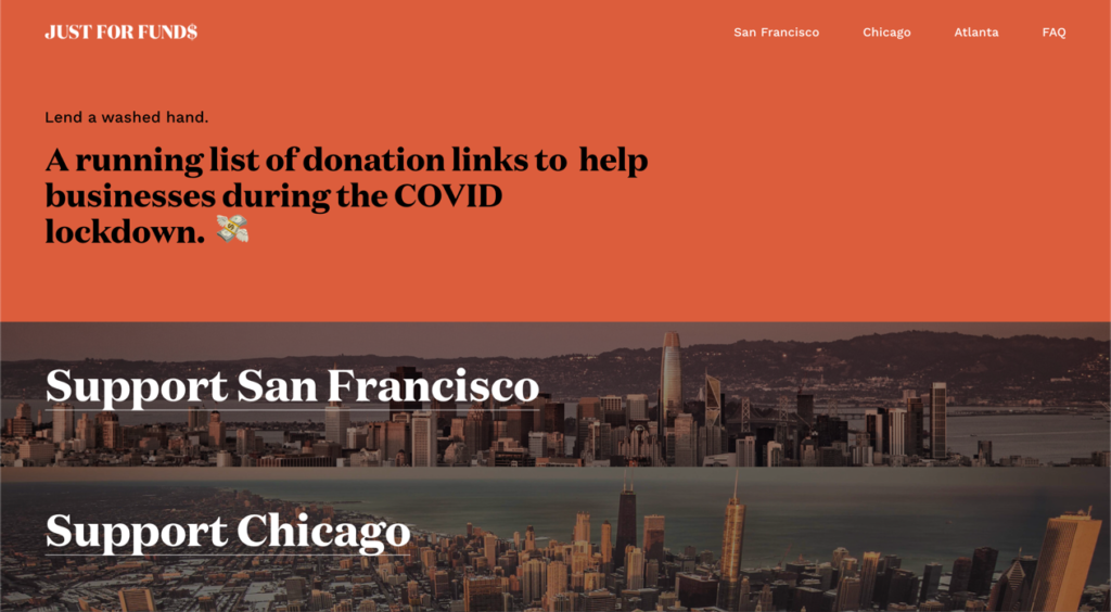 Just For Funds aggregates all the ways you can help small businesses across San Francisco, Chicago, and Atlanta.